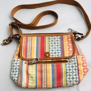 Fossil multicolor leather/canvas crossbody bag